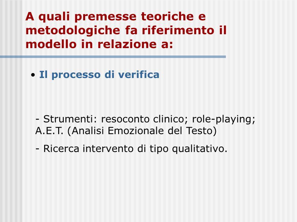 A quali premesse teoriche e metodologiche fa riferimento il modello in relazione a: