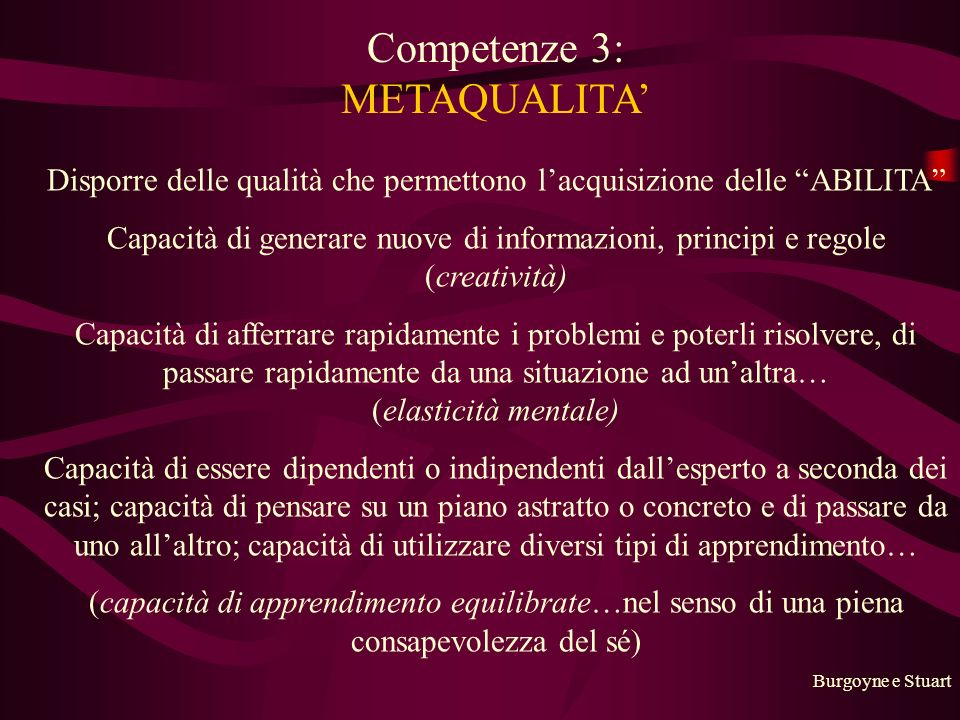 Competenze 3: METAQUALITA'