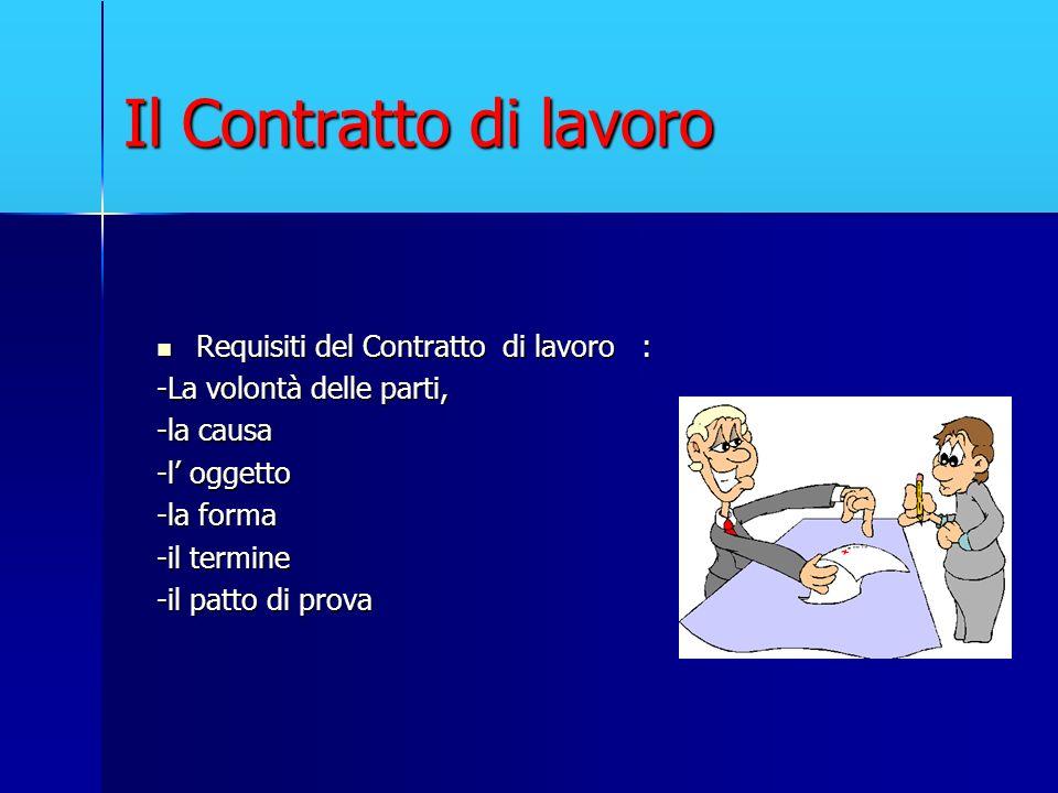 Il Contratto di lavoro Requisiti del Contratto di lavoro :