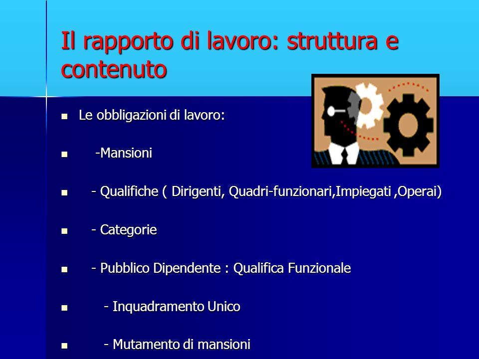 Il rapporto di lavoro: struttura e contenuto