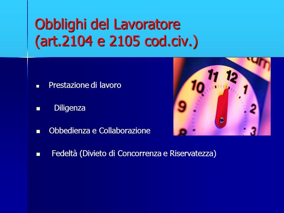 Obblighi del Lavoratore (art.2104 e 2105 cod.civ.)