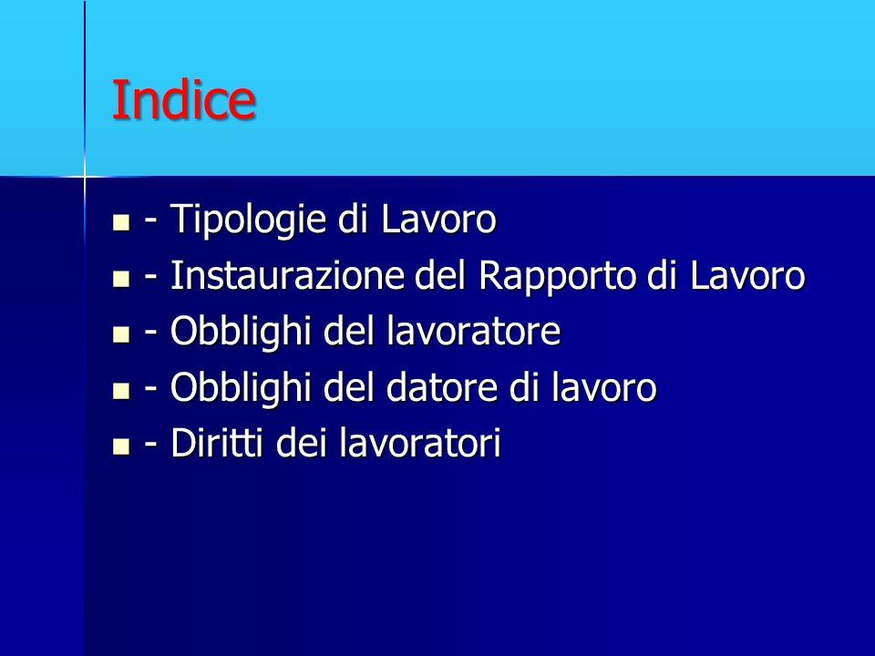 Indice - Tipologie di Lavoro - Instaurazione del Rapporto di Lavoro