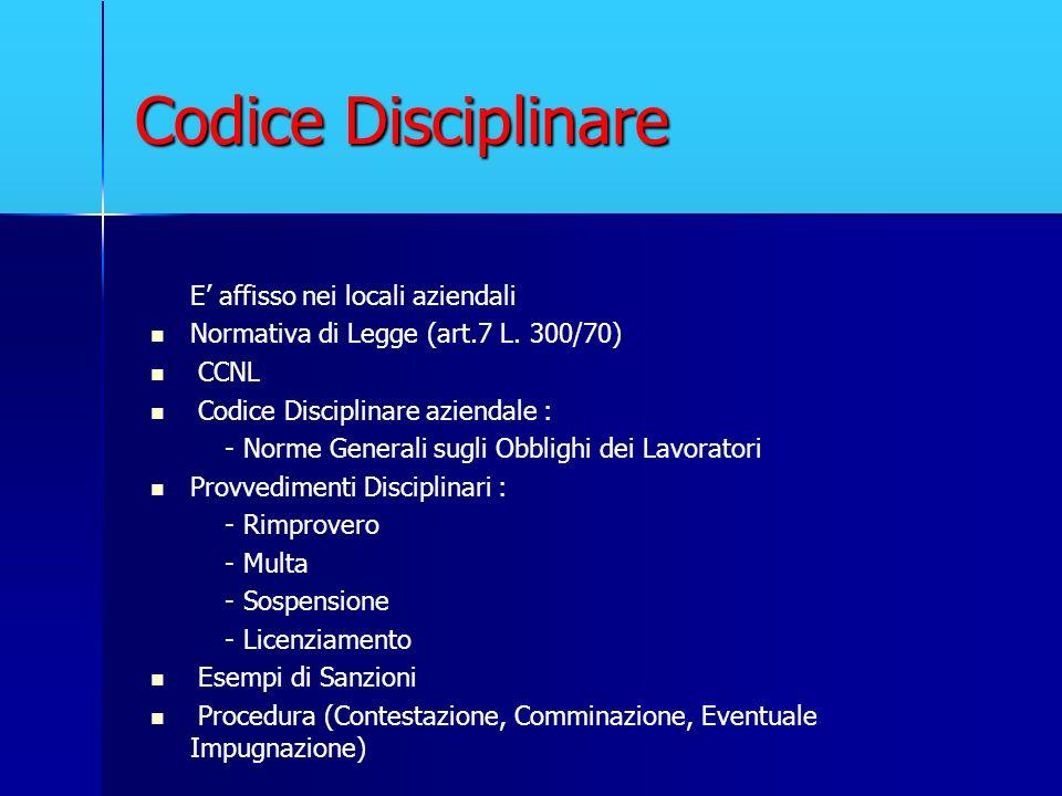 Codice Disciplinare E' affisso nei locali aziendali