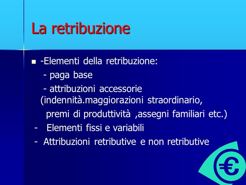 La retribuzione -Elementi della retribuzione: - paga base