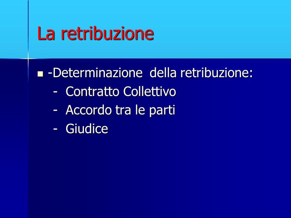 La retribuzione -Determinazione della retribuzione: