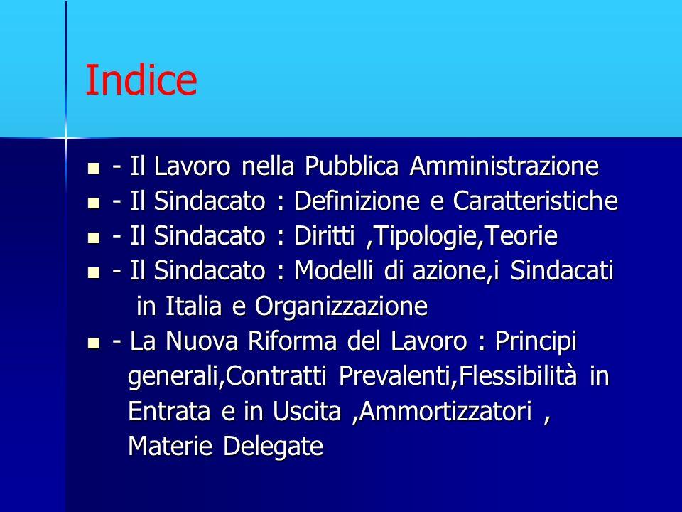Indice - Il Lavoro nella Pubblica Amministrazione