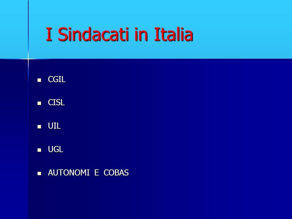 I Sindacati in Italia CGIL CISL UIL UGL AUTONOMI E COBAS
