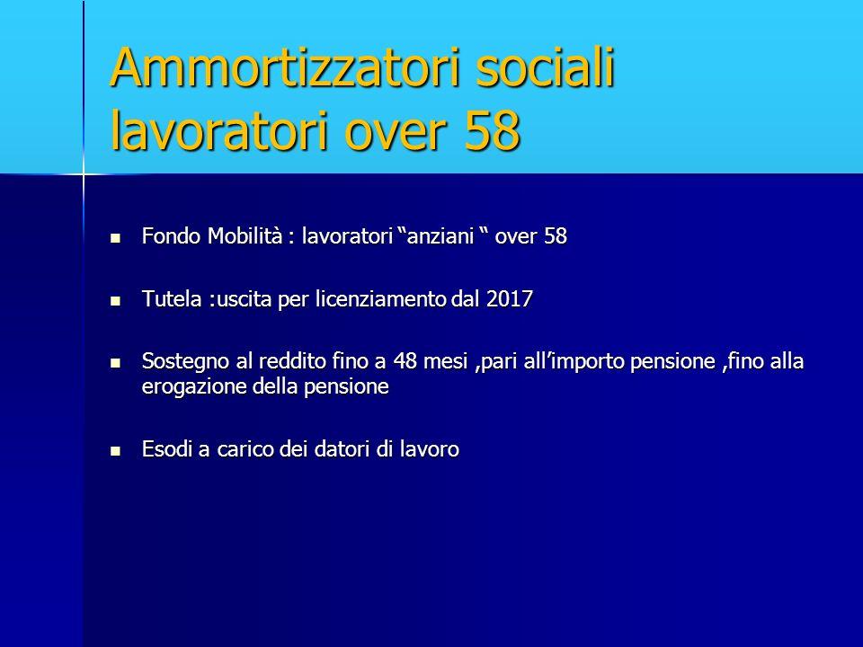Ammortizzatori sociali lavoratori over 58