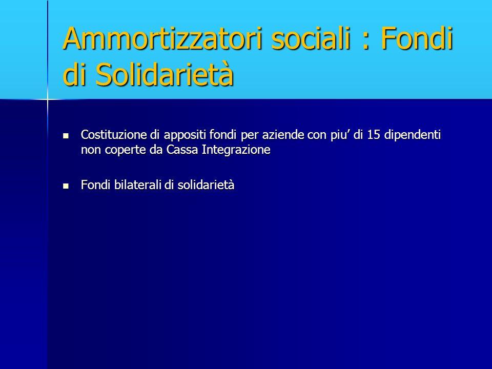 Ammortizzatori sociali : Fondi di Solidarietà