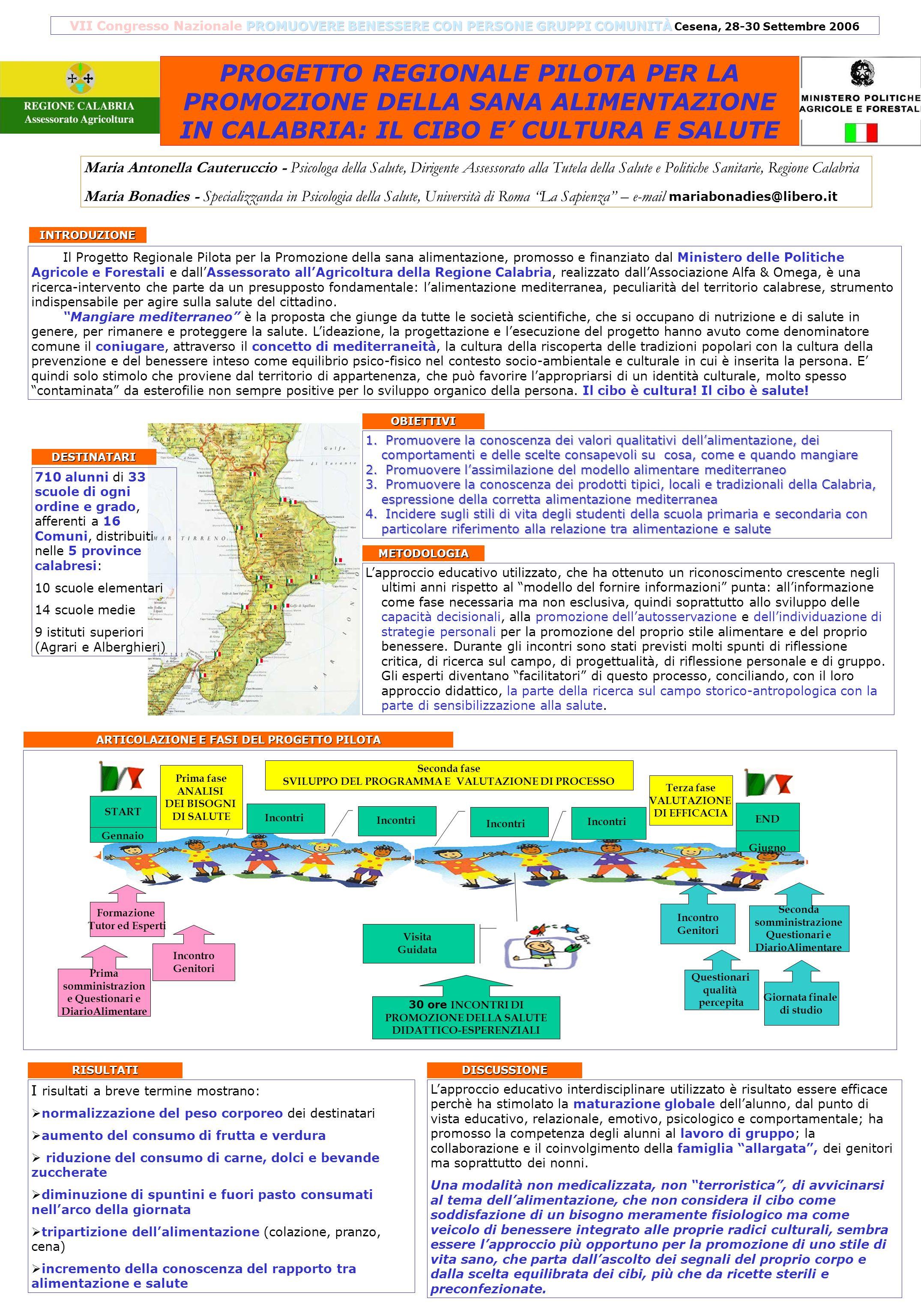 VII Congresso Nazionale PROMUOVERE BENESSERE CON PERSONE GRUPPI COMUNITÀ Cesena, 28-30 Settembre 2006