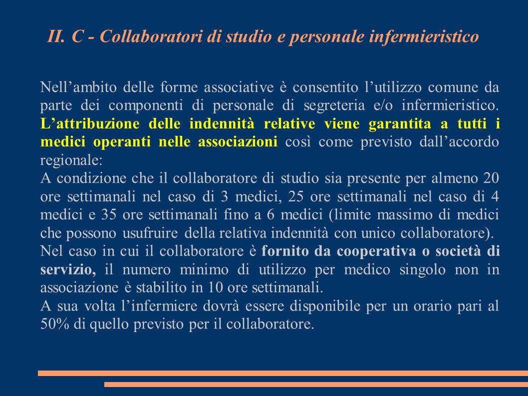 II. C - Collaboratori di studio e personale infermieristico