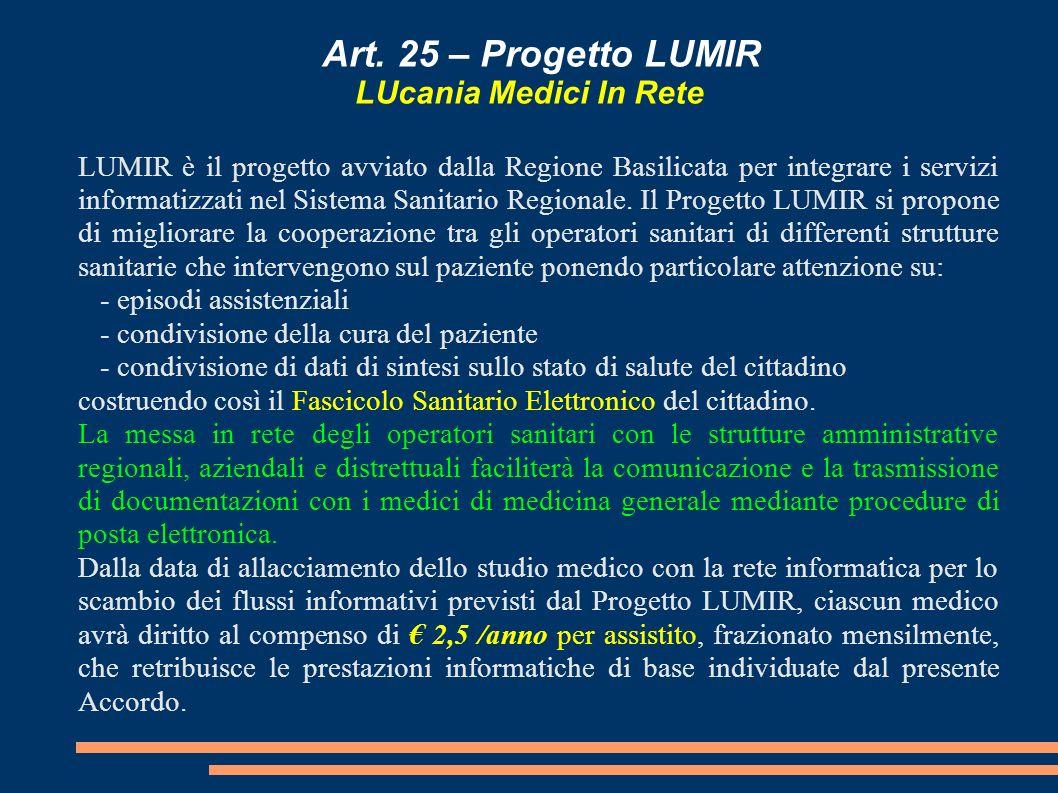 Art. 25 – Progetto LUMIR LUcania Medici In Rete