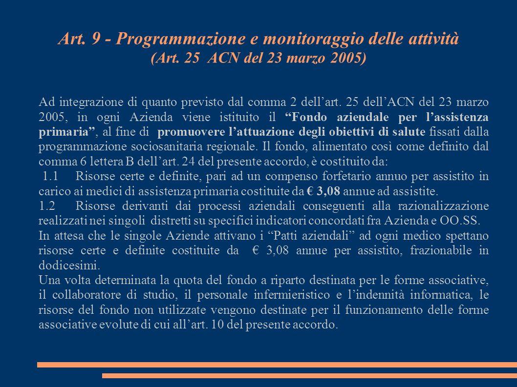 Art. 9 - Programmazione e monitoraggio delle attività (Art