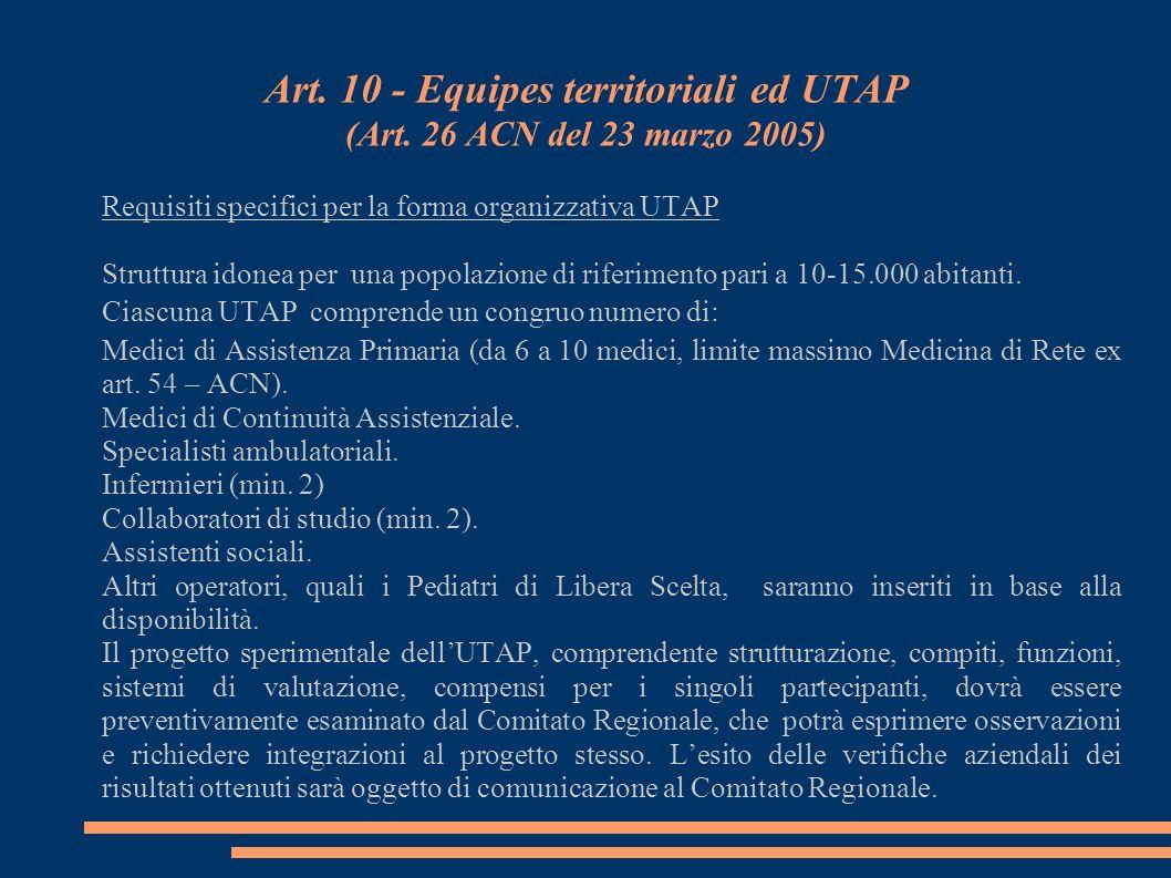 Art. 10 - Equipes territoriali ed UTAP (Art. 26 ACN del 23 marzo 2005)