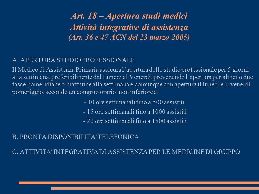 Art. 18 – Apertura studi medici Attività integrative di assistenza (Art. 36 e 47 ACN del 23 marzo 2005)