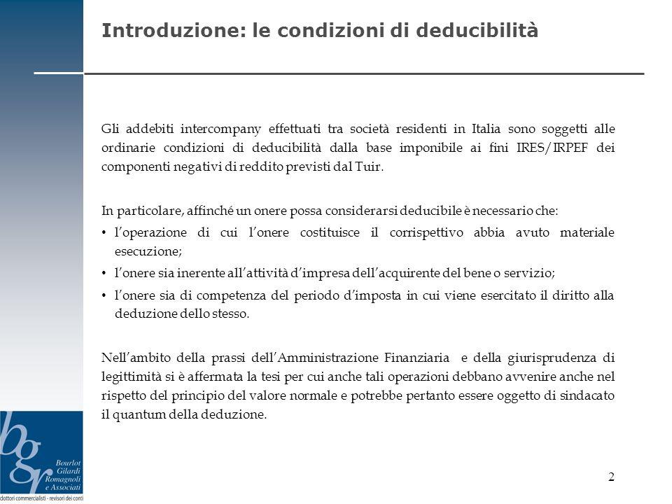 Introduzione: le condizioni di deducibilità