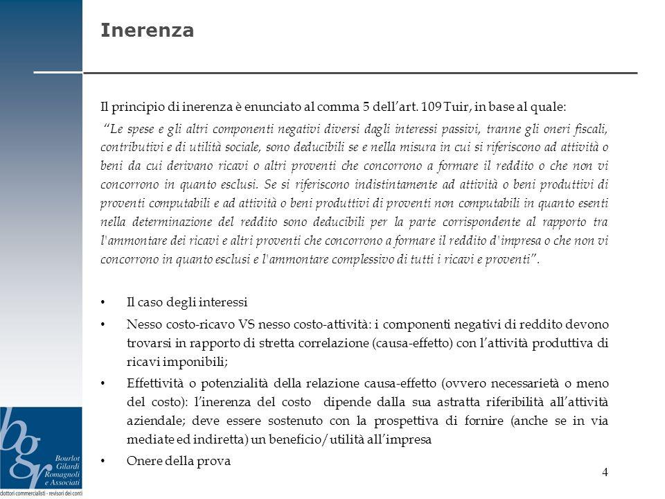 Inerenza Il principio di inerenza è enunciato al comma 5 dell'art. 109 Tuir, in base al quale: