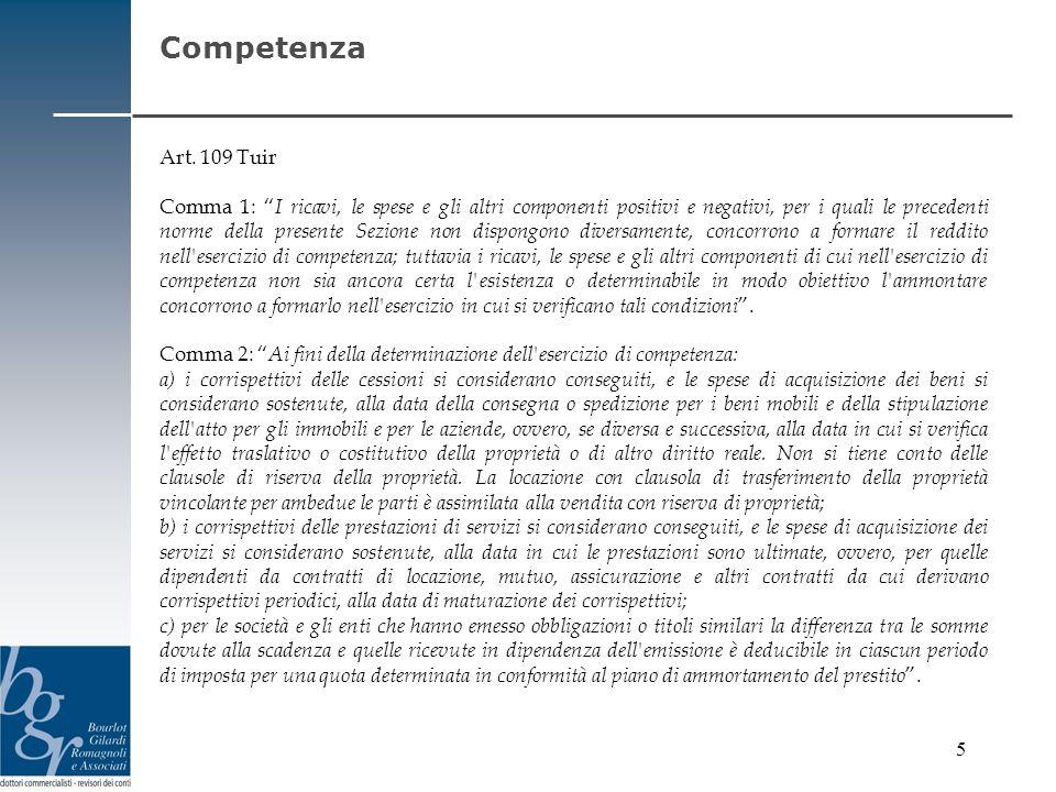 CompetenzaArt. 109 Tuir.