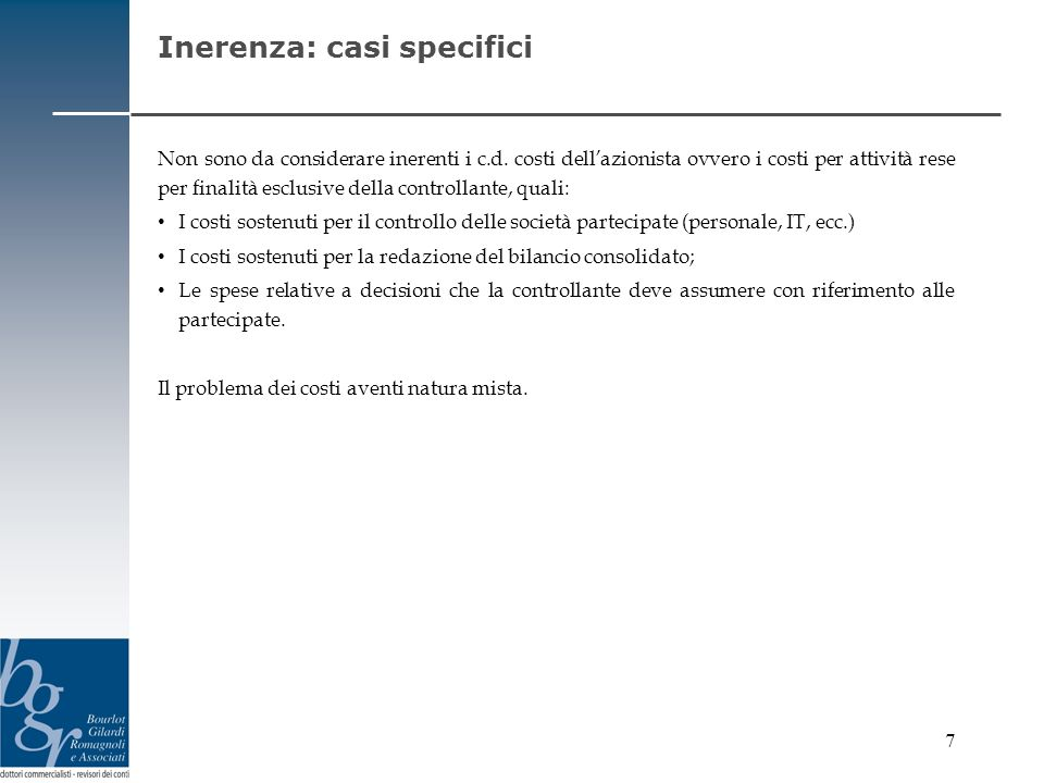 Inerenza: casi specifici