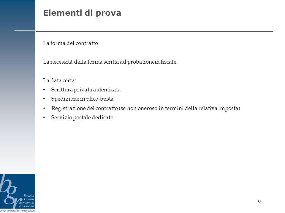 Elementi di prova La forma del contratto