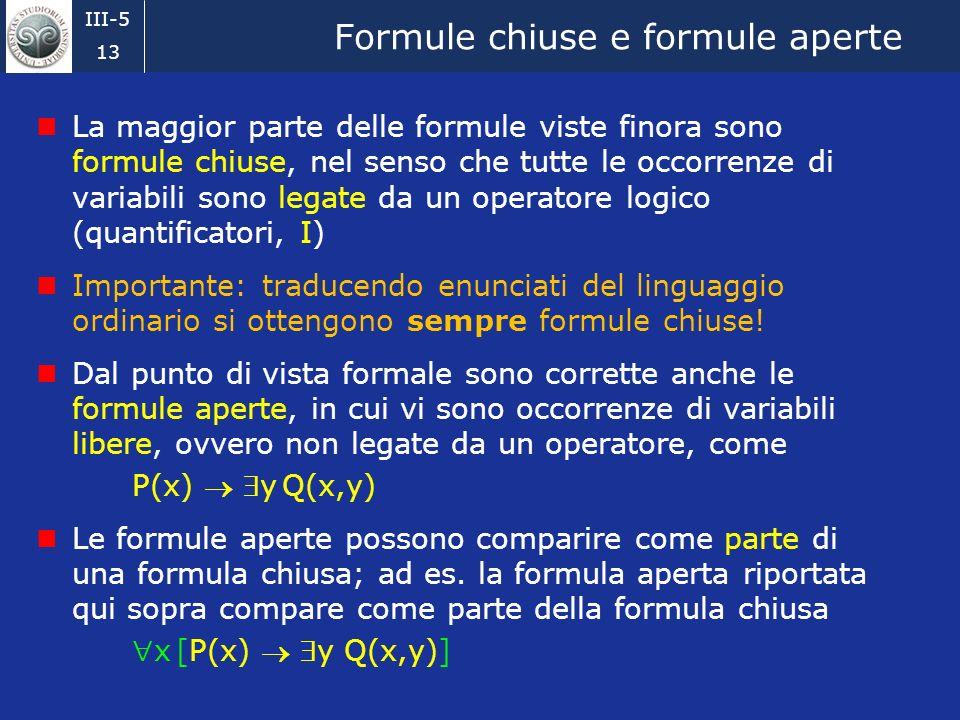 Formule chiuse e formule aperte