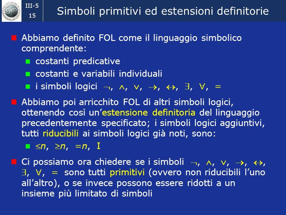 Simboli primitivi ed estensioni definitorie