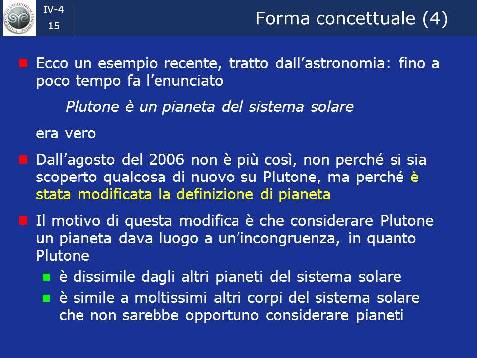 Forma concettuale (4) Ecco un esempio recente, tratto dall'astronomia: fino a poco tempo fa l'enunciato.