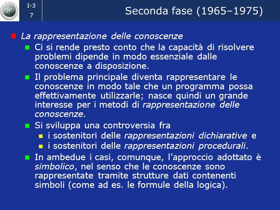 Seconda fase (1965–1975) La rappresentazione delle conoscenze