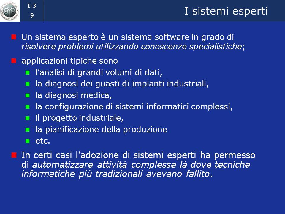 I sistemi esperti Un sistema esperto è un sistema software in grado di risolvere problemi utilizzando conoscenze specialistiche;