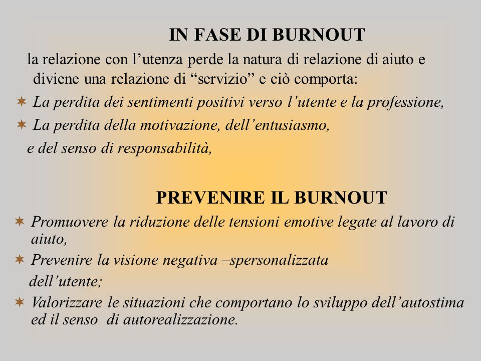 PREVENIRE IL BURNOUT IN FASE DI BURNOUT