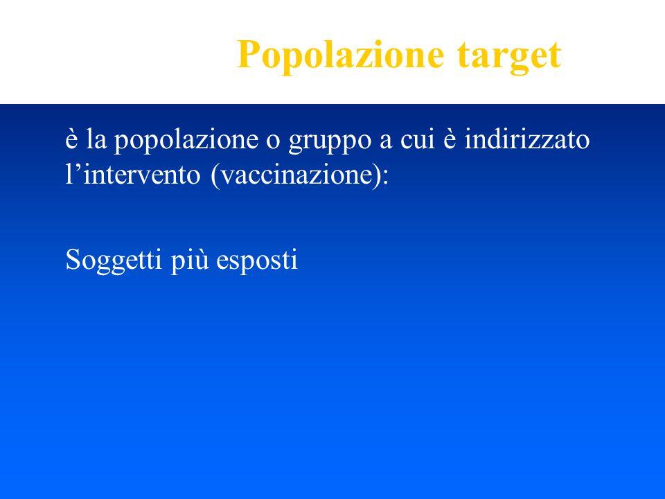 Popolazione target è la popolazione o gruppo a cui è indirizzato l'intervento (vaccinazione): Soggetti più esposti.