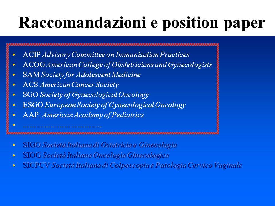 Raccomandazioni e position paper
