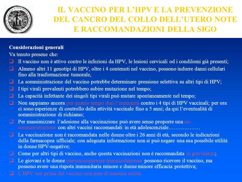 IL VACCINO PER L'HPV E LA PREVENZIONE