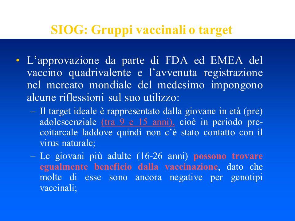 SIOG: Gruppi vaccinali o target
