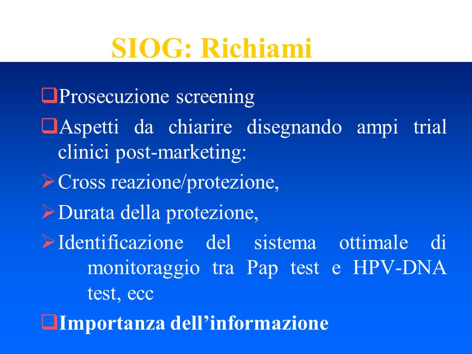 SIOG: Richiami Prosecuzione screening