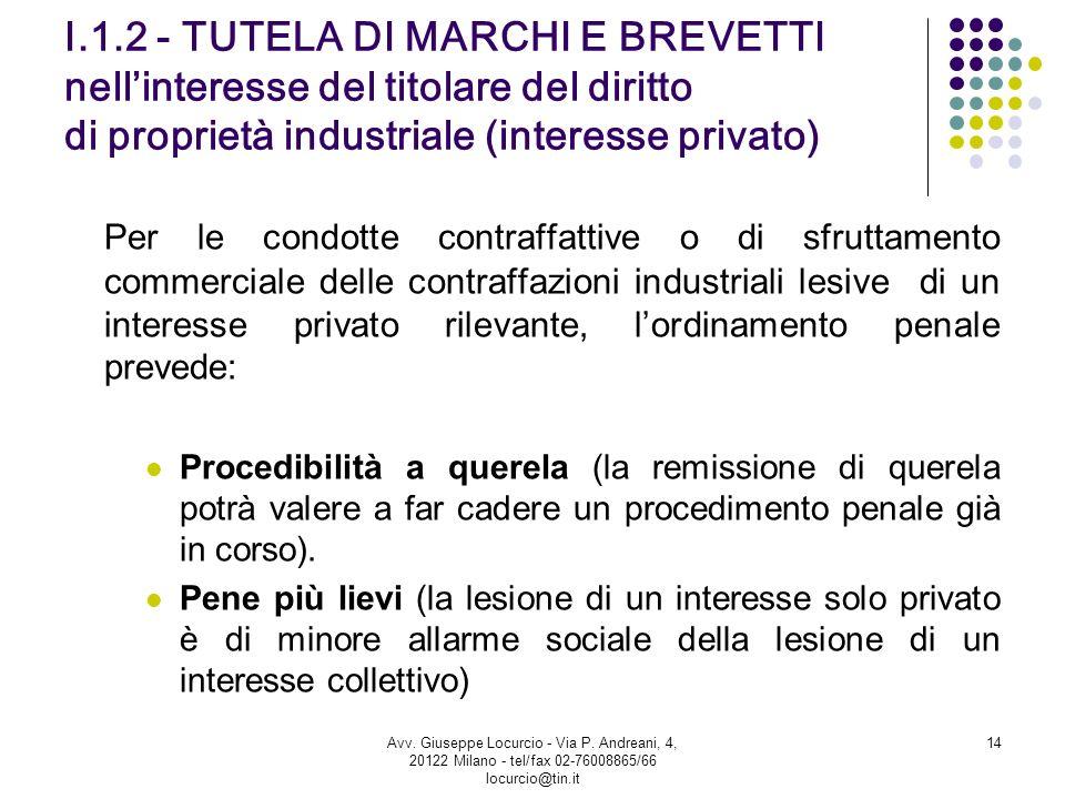 I.1.2 - TUTELA DI MARCHI E BREVETTI nell'interesse del titolare del diritto di proprietà industriale (interesse privato)