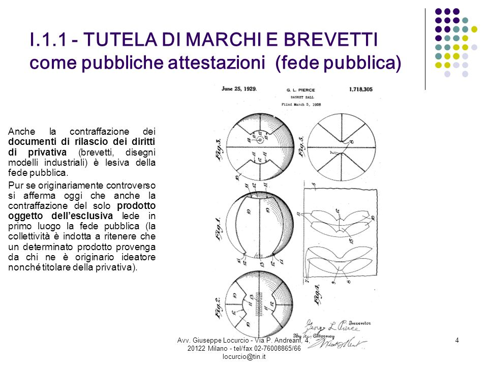 I.1.1 - TUTELA DI MARCHI E BREVETTI come pubbliche attestazioni (fede pubblica)