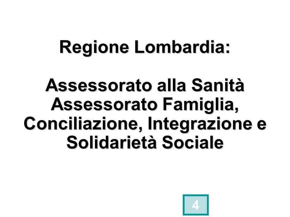 Regione Lombardia: Assessorato alla Sanità Assessorato Famiglia, Conciliazione, Integrazione e Solidarietà Sociale
