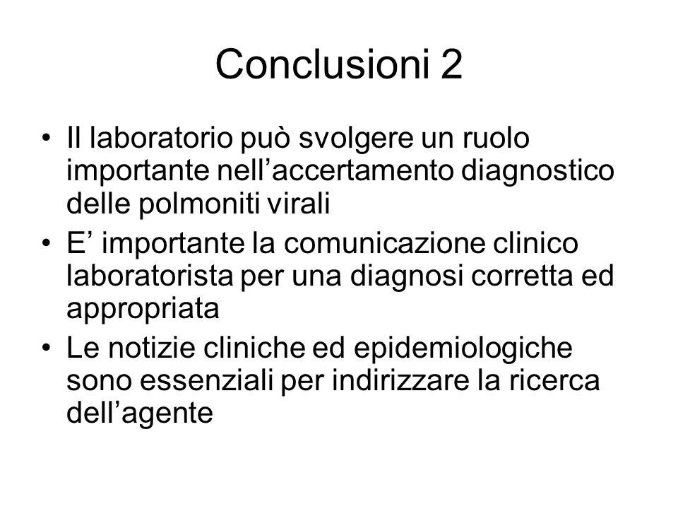Conclusioni 2 Il laboratorio può svolgere un ruolo importante nell'accertamento diagnostico delle polmoniti virali.