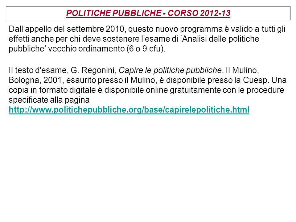 POLITICHE PUBBLICHE - CORSO 2012-13