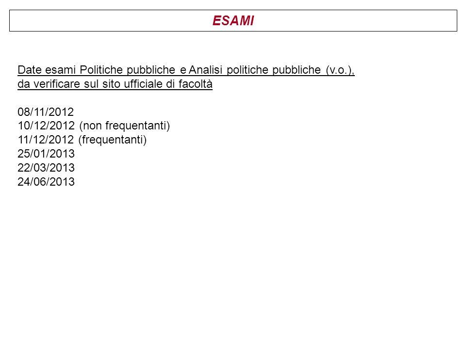 ESAMI Date esami Politiche pubbliche e Analisi politiche pubbliche (v.o.), da verificare sul sito ufficiale di facoltà.