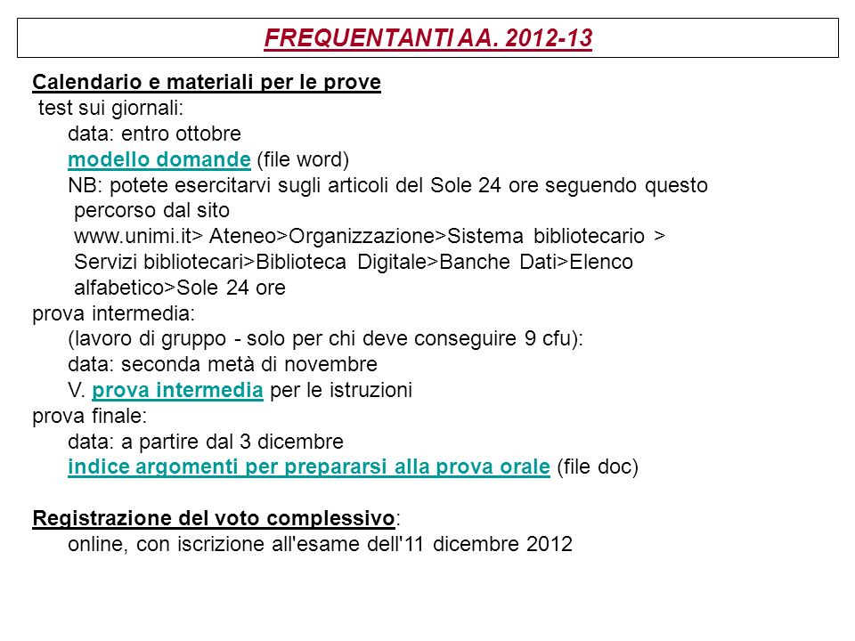 FREQUENTANTI AA. 2012-13