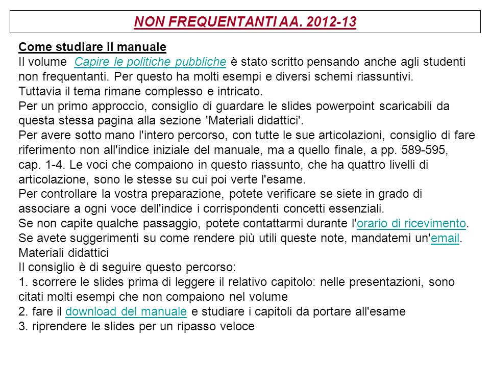 NON FREQUENTANTI AA