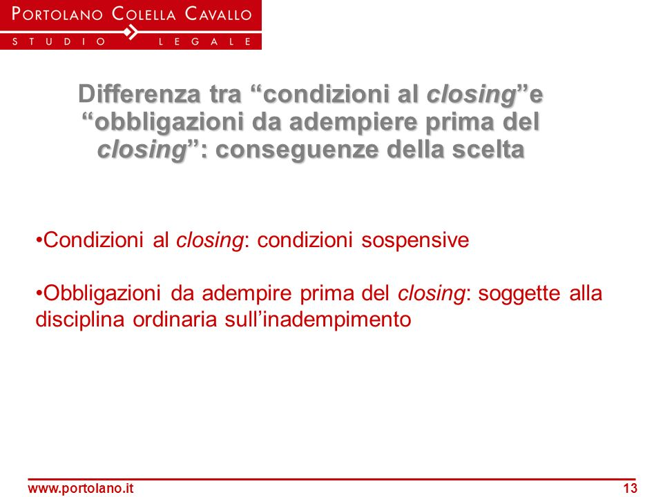 Condizioni al closing: condizioni sospensive