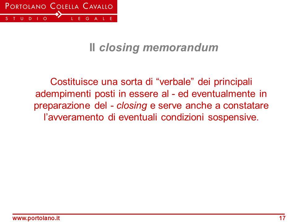 Il closing memorandum