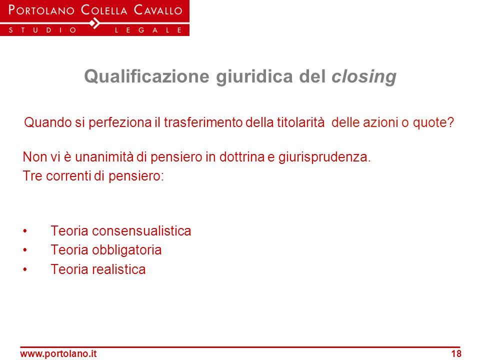 Qualificazione giuridica del closing