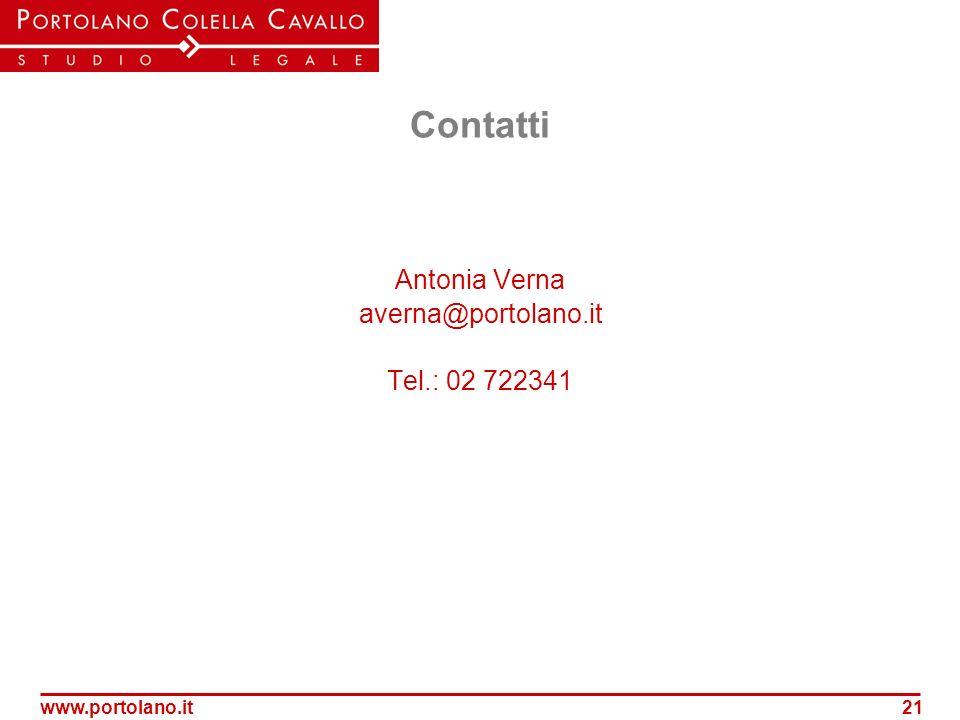 Contatti Antonia Verna averna@portolano.it Tel.: 02 722341
