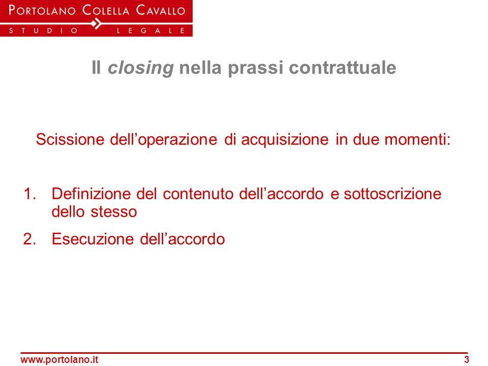 Il closing nella prassi contrattuale