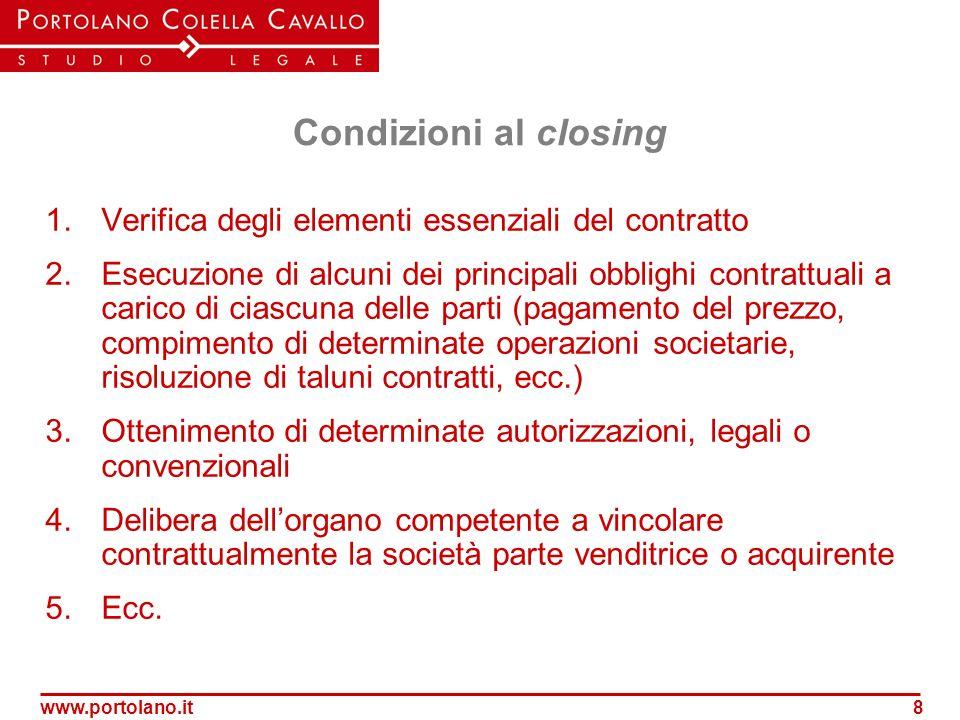 Condizioni al closing 1. Verifica degli elementi essenziali del contratto.