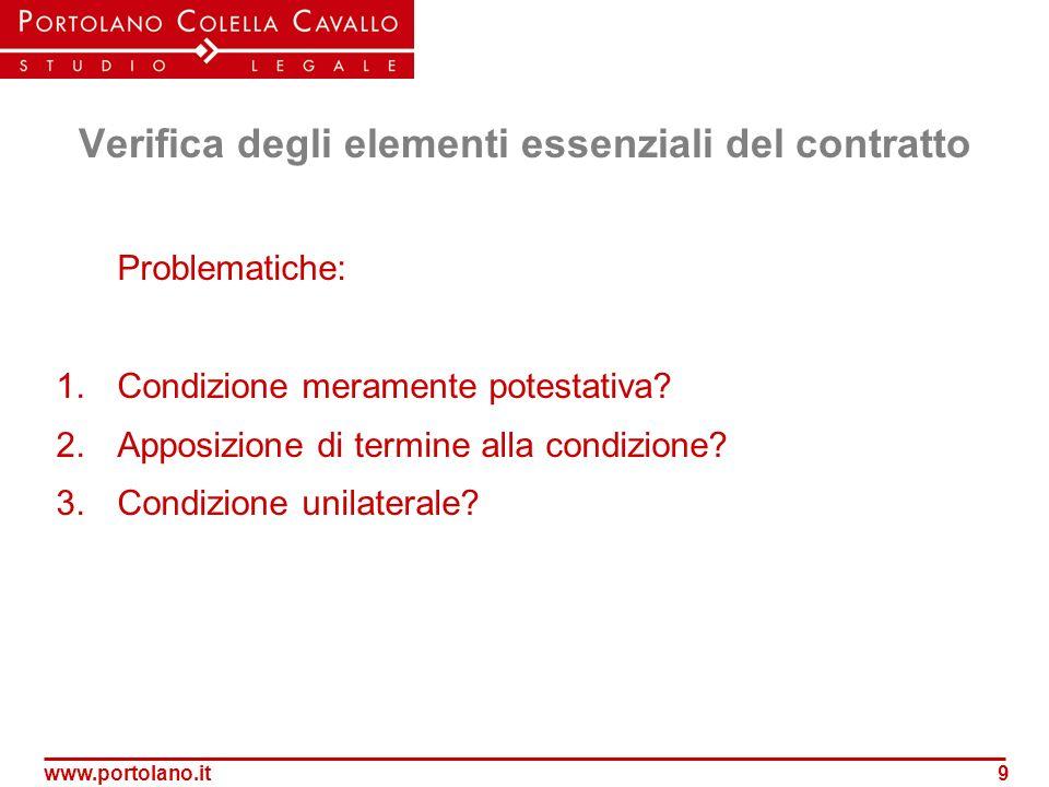 Verifica degli elementi essenziali del contratto
